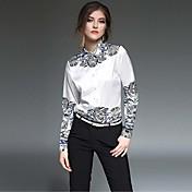 女性 カジュアル/普段着 ワーク 夏 シャツ,シンプル シャツカラー プリント ホワイト ポリエステル 長袖 薄手