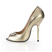 Mujer-Tacón Stiletto-Confort-Tacones-Boda Vestido Fiesta y Noche-PU-Negro Plata Oro