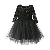 Vestido Chica deJacquard-Algodón-Todas las Temporadas-Negro