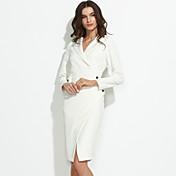 Mujer Vaina Vestido Trabajo Sexy,Un Color Escote en Pico Hasta la Rodilla Manga Larga Algodón Primavera Otoño Tiro Medio Microelástico