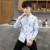 男性の流入の2017春と秋の新しい印刷バージョン' sのカジュアルシャツ長袖シャツスリム若者