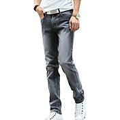Hombre Corte Recto Vaqueros Pantalones,Un Color Casual/Diario Cosecha Sencillo Tiro Medio Botón Algodón Poliéster Micro-elásticaAll
