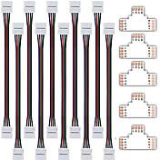 10個入り5050 RGBストリップ光コネクタ付き5050 RGB用ZDMクリニーククイックスプリッタコネクタ10ミリメートルトン形状4導体