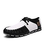 メンズ オックスフォードシューズ コンフォートシューズ カップルの靴 ダイビングシューズ PUレザー 夏 カジュアル コンフォートシューズ カップルの靴 ダイビングシューズ 編み上げ フラットヒール ホワイト ブラック ブラックとホワイト 2~2 3/4インチ