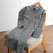 2017 nuevos firmar a cuadros de manga larga camisa de algodón de las mujeres&# 39; s de cercanías coreano secciones delgadas y largas