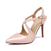 Sandály-PU-S páskemČerná Růžová Červená-Kancelář Party Šaty-Vysoký