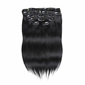 人間の髪の毛の拡張子で7PCS /セット18インチのクリップは、純粋な色ストレートの髪を85G