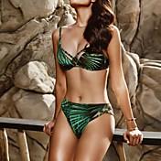 Kvinders Polyester Stropper Ensfarvet Bikini