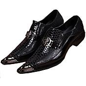 Hombre Zapatos Cuero Primavera Verano Otoño Invierno Confort Innovador Oxfords Paseo Remache Para Boda Fiesta y Noche Negro
