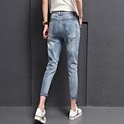 Muestra de los pantalones vaqueros pantalones femeninos bf suelta fue pantalones elásticos delgados harén pies pantimedias