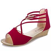 Mujer Zapatos PU Verano Confort Sandalias Tacón Bajo Puntera abierta Con Cordón Para Casual Negro Rosa Brillante Azul