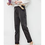 firmar 2017 pantalones de algodón de primavera y el verano del color sólido femenino literarias yardas grandes retro cintura recta salvaje