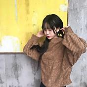 サインカレッジ風小さな高襟のセーター無地コーデュロイシャツの女性