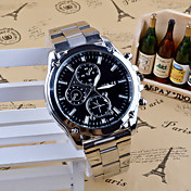 Men's Dress Watch Fashion Watch Quartz Stainless Steel Band Charm Casual Silver