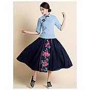 符号2017新しい中国の共和国は、デニムハーフレングスのスカートレトロな演劇を刺繍スカートを修正しました