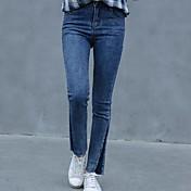 スリムな風の2017新しい韓国研究所は、薄いストレッチジーンズの足のストッキングのファッションフラッシュした署名
