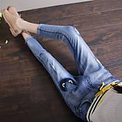 oportunidad real era vaqueros del agujero finas femenina pantalones harén colapso nueve pies de cintura elástica sección delgada