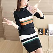 #4383秋と冬の新しい女性の韓国のスリムニットセーターピーススーツヘッジクリップストリップ