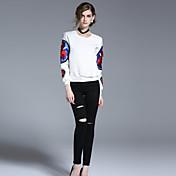 Mujer Delgado Chinos Pantalones,Casual/Diario Sencillo Un Color Tiro Alto Botón Algodón Inelástica Con Muelle Verano