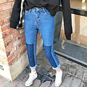 firmar flecos pequeños colores mezclados fue cintura jeans delgados pantalones rectos femeninos