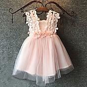 女の子の カジュアル/普段着 プリント コットン,ドレス 夏 ピンク