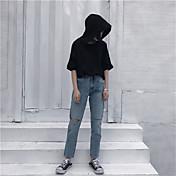 firmar coreano cortaron los pantalones vaqueros flojos pantimedias neto casual femenina