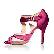 Moguće personalizirati-Ženske-Plesne cipele-Latinski plesovi Jazz Salsa Cipele za swing-Saten-Potpetica po mjeri-Crna Ljubičasta