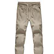 Pánské Retro Chinoiserie Mikro elastické Kalhoty chinos Kalhoty Rovné Mid Rise Jednobarevné