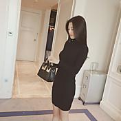 suéter de color sólido de la reparación corea de cuello alto vestido de manga larga de punto y largas secciones que basa la camisa