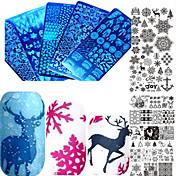 1stk sød jul søm rustfrit stål stempling plade farverige image design smukke snefnug diy negle værktøj manicure skønhed stencils xy-z31-32