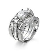 指輪 婚約指輪 セット キュービックジルコニア 模造ダイヤモンド Elegant ジルコン キュービックジルコニア スチール ホワイト ジュエリー のために 結婚式 誕生日 婚約 日常 3件