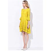 エッジ2017春新しい女性の通勤シンプルなファッション蓮の袖スリムロングスカートは薄いレースのドレスでした