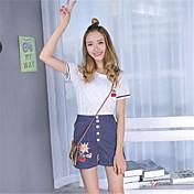 firmar 2016 nuevos femenina de Corea rayas pantalones de pierna amplia traje de dos piezas de manga corta camiseta + pantalones cortos de