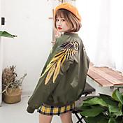 2017韓国重い刺繍翼は野球ユニフォームジャケットのコートの女性のジッパーに署名
