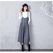 Dámské Jednoduchý Šik ven Není elastické Montérky Kalhoty Volné Rovné High Rise Kostičky