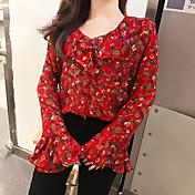 本当に韓国購買部門面白い女の子ロマンチックな甘いフローラルシフォンシャツを作ります