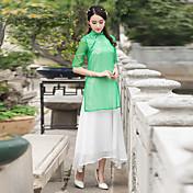 signo de la primavera y el verano 2017 nuevo pintado a mano chino estilo sencillo de lino vestido de hada