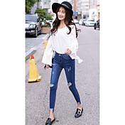 ミズ。穴の足のジーンズのズボンの春モデル韓国語バージョン弾性薄い鉛筆のズボン