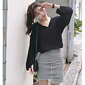 Mujer Simple Noche Casual/Diario Verano Camiseta,Escote Redondo Un Color Manga Corta Rayón Opaco Fino