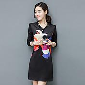 2017年の新しい女性の春のサイン'プリントされたVネック韓国スリム薄い単語スカートの長袖ドレス