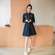 firmar 2017 nuevas mujeres&# 39; s grande talla de ropa denim elástico de la cintura delgada de manga larga vestido delgado