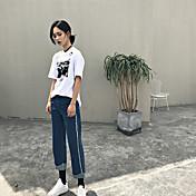 Hong Kong verdadero golpe en el agujero de viento bf blanco y negro camiseta floja ocasional