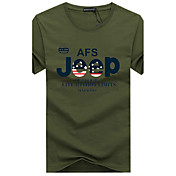 メンズ カジュアル/普段着 プラスサイズ 夏 Tシャツ,シンプル ラウンドネック プリント コットン 半袖 ミディアム
