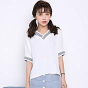 記号夏の新しい韓国語版は、薄いシフォンVネックルーズ半袖Tシャツ潮大きいサイズの女性の学生でした