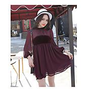 punto 2017 modelos de primavera parís buena chica medio del fuerte viento de terciopelo collar de gasa vestido negro de manga larga