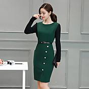 2017年春に新しい女性の長袖のドレススリム薄型パッケージヒップステップスカートの潮の長いセクション