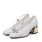 Mujer-Tacón Bajo-Confort-Zapatos de taco bajo y Slip-Ons-Informal-Cuero Patentado-Blanco