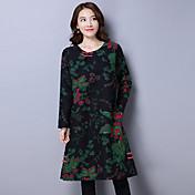 firmar vestido de algodón larga sección arte nacional ventilador mujeres eólicos nueva astilleros coreanos suelta de manga larga