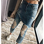 2017gigi ritmo de la calle de vanguardia modelos de diseño doble falda agujero mendigo pantalones cosecha costura ancha piernas marea