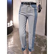 無料のベルトに署名野生のレトロなカレッジ風の呪文の色緩い腰が細いストレートジーンズ女性のジーンズでした
